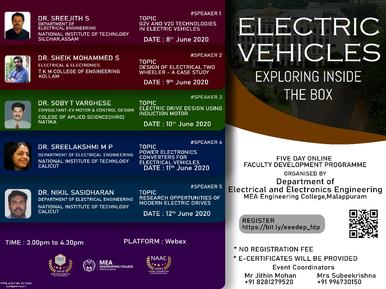 Online Faculty Development Programme on Recent Advancements in Electric Vehicle 2020