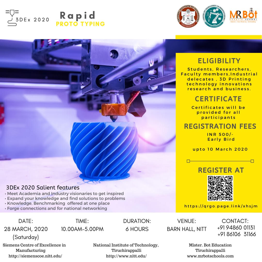 One day Workshop on 3D printing and Innovation 2020
