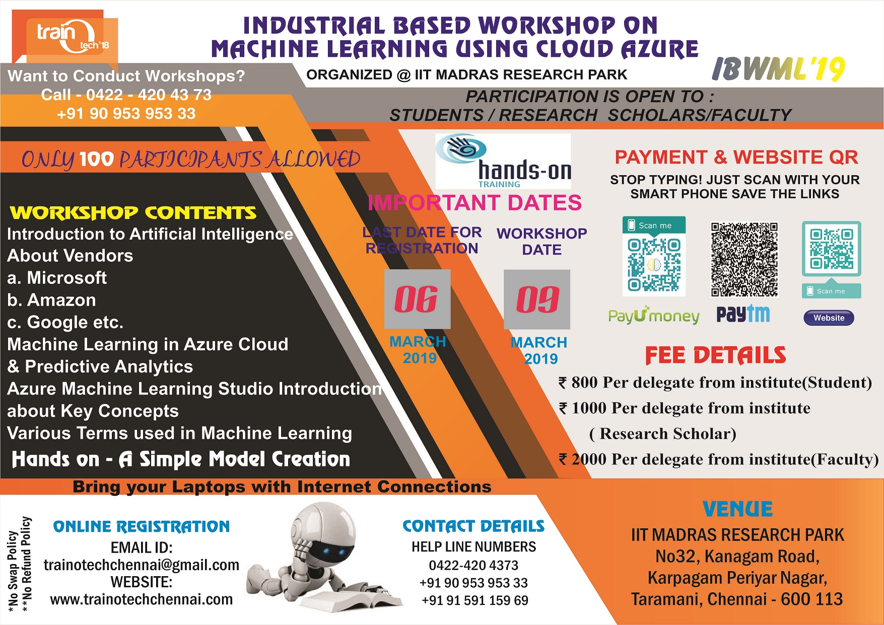 Industrial Based Workshop on Machine Learning Using Cloud Azure IBWML 2019