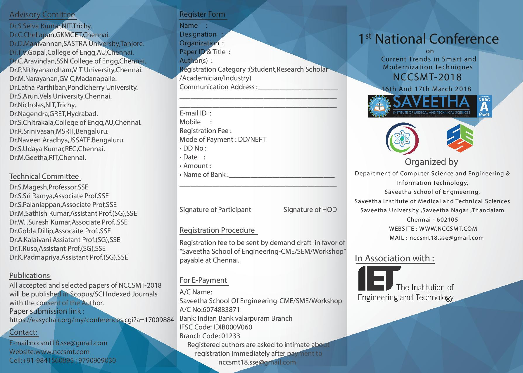 National Conference on Current trends in Smart and Modernization Techniques NCCSMT 2018