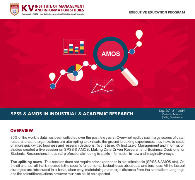 SPSS and AMOS IN INDUSTRIAL and ACADEMIC RESEARCH 2019