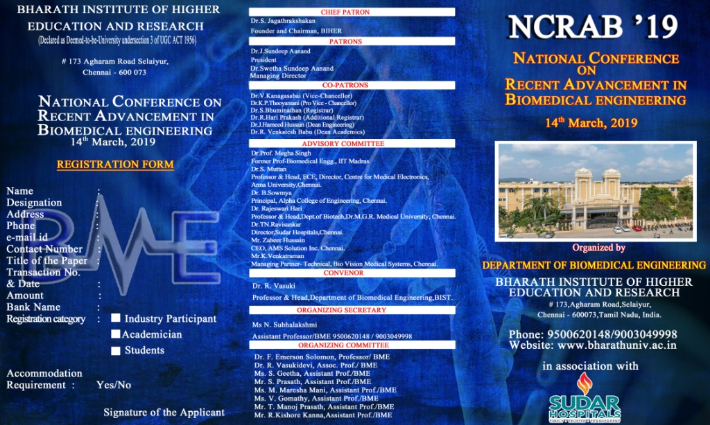 National Conference on Recent advancement in Biomedical Engineering 2019