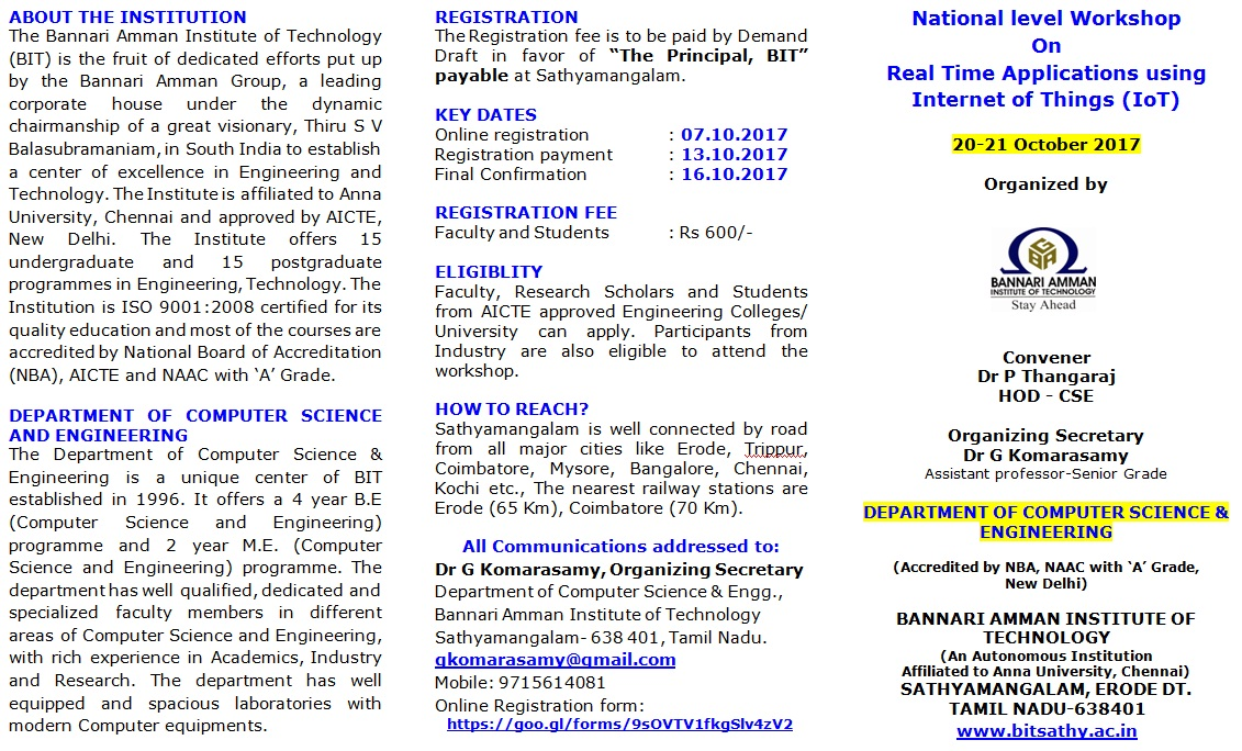 National level Workshop on Real Time Applications using Internet of Things (IoT)