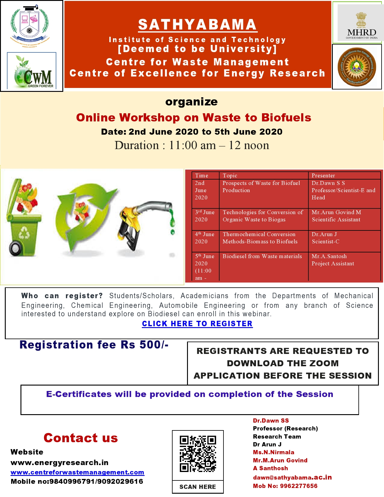 Online Workshop on Waste to Biofuels 2020